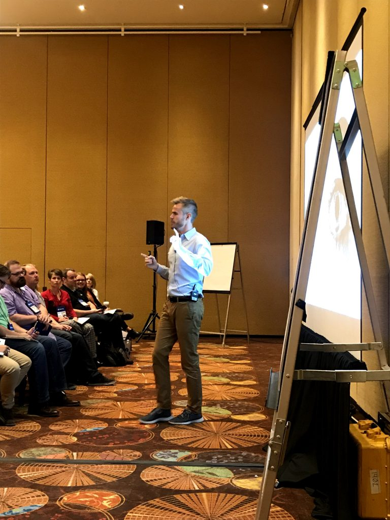 Presenting on video-based training at DevLearn
